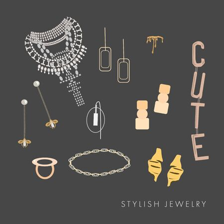 Collection of  elegance jewelry and accessories: big necklace with crystals, rings, bride, pendant, earrings, mono earring, bracelets. Stylish vector for print, all elements isolated Иллюстрация