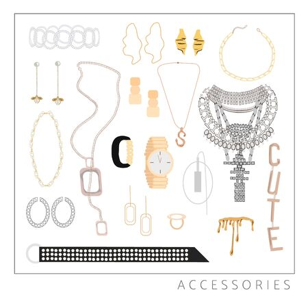 Collection of trendy jewelry and accessories: big necklace with crystals, rings, bride, belt, watches, pendant, earrings, mono earring, bracelets. Woman fashion set for print, card, flyer, template Standard-Bild - 131374343