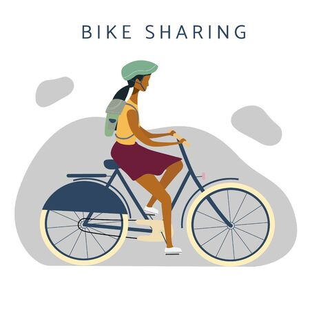 Bike sharing or rental illustration. Woman on bicycle riding. Online bicycle rent service concept. Flat vector for banner, web, mobile app, flyer, poster.