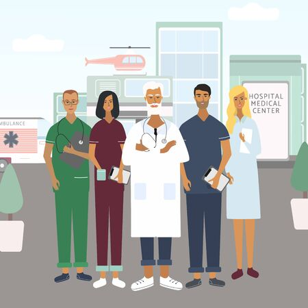 Doctors, nurses and chief physician team. Hospital, emergency at the background. Group of professional medical specialists. Flat vector in cartoon style for web, medical office, clinics, laboratory
