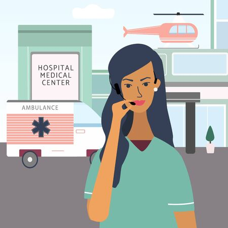 Call a doctor concept. Medical specialist with headset phone ready to give medical consultation and talking with patient 24 hour per 7. Flat vector  for web, medical office, clinics, laboratory.  イラスト・ベクター素材