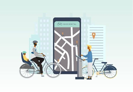 Bike sharing or rental concept. Eco transportation. Man with kid on  bicycle at the bike rental spot. Online bicycle rent service on big smartphone.vector  for banner, web, mobile app, flyer, poster.