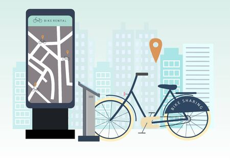 Bike sharing or rental concept. Online bicycle rent service app. Bicycle on rental spot . Flat vector illustration for banner, web, mobile app, flyer, poster.
