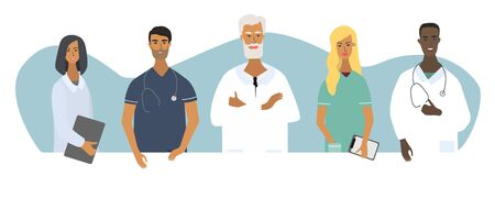 Doctors, nurses and chief physician portraits. Set of medical specialists. Flat vector cartoon illustration  for concepts for web, medical clinics, hospitals, laboratories.  Isolated characters