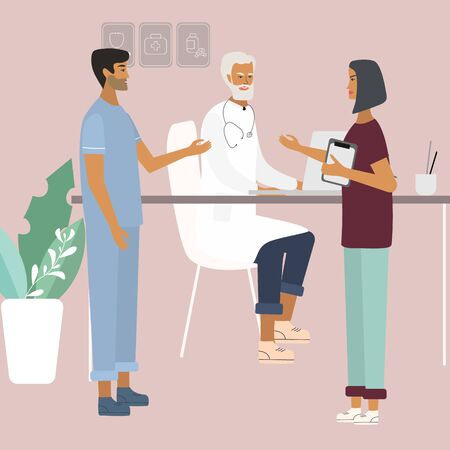 Doctors and nurses discussing and talking. Teamwork of medical specialists at the clinic . Flat  vector illustration in cartoon style for web, medical office, clinics, laboratory  イラスト・ベクター素材