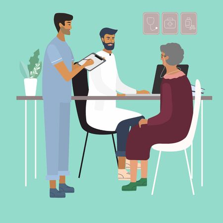 Doctors examining and consulting an old woman at the clinic. Care of elderly people medical concept with doctor and patient. Colorful vector illustration in flat style