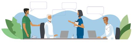 Doctors and nurses discussing and talking at the clinic concept. Teamwork of medical specialists with speech bubbles. Vector illustration in cartoon style for web, medical office, clinics, laboratory