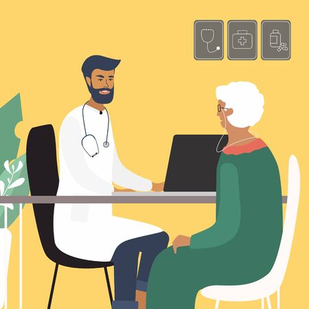 Doctor examining and consulting an old woman at the clinic. Care of elderly people medical concept with doctor and patient.  Bright vector illustration in trendy flat style 版權商用圖片 - 132126231