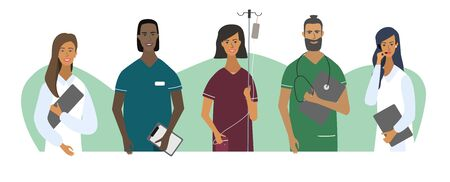Doctors and nurses  portraits or avatars. Set of medical specialists. Teamwork. Flat vector cartoon illustration for concepts for web, medical clinics, hospitals, laboratories.  Isolated characters