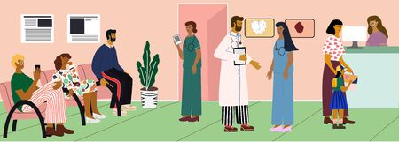 Doctors and patients at the hospital  hall. People sitting in queue and waiting. Woman with kid at the reception. Doctors discuss. Concept vector illustration in cartoon style. Medical banner.