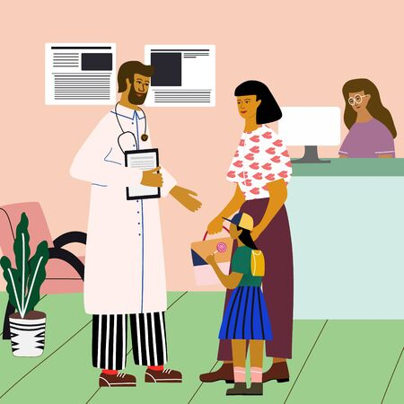 Doctor and patient medical concept. Doctor consulting  a woman with a child near the clinic reception at the hospital. Trendy colorful vector illustration in flat cartoon style.