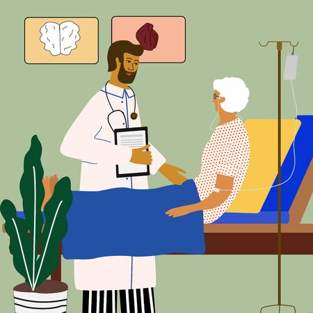 Doctor  visit and examining old woman who lying in bed with dropper intensive therapy. Care of elderly people medical concept with doctor and patient. Vector illustration in trendy cartoon style. Ilustrace