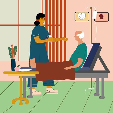 Doctor  or nurse visit and give medical pills to  old man. Care of elderly people medical concept with doctor and patient. Bright vector illustration in trendy cartoon style.
