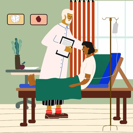 Doctor and patient medical concept. Doctor visiting, consulting and examining a woman at the hospital. Trendy colorful vector illustration in flat cartoon style. Ilustrace