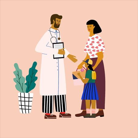 Doctor and patient medical concept. Pediatrician consulting  a woman with a child. Trendy colorful vector illustration in flat cartoon style.