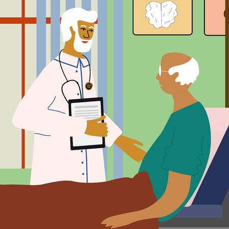 Doctor  visit and examining old man who lying in bed with dropper intensive therapy. Care of elderly people medical concept with doctor and patient. Vector illustration in trendy cartoon style. Ilustrace