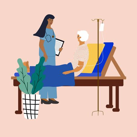 Home support for senior adults. Doctor visiting, caring  and supporting an old woman in bed at home. Trendy colorful vector illustration in flat cartoon style. Ilustrace