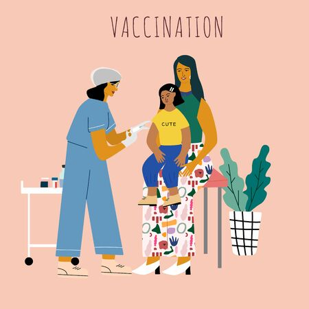 Children vaccination and immunization concept. Child on mothers knees gonna make a vaccine injection.  Doctor pediatrician  with syringe and gloves vaccinating a kid. Flat colorful vector illustration  イラスト・ベクター素材