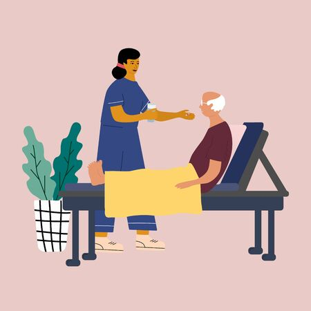 Home medical service concept. Nurse care and support a  senior adult at his home.  Medical worker gives a pill with water to senior patien.  Colorful flat vector illustration