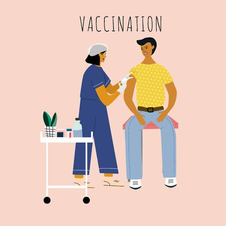 Children vaccination and immunization concept. Child on mothers knees gonna make a vaccine injection.  Doctor pediatrician  with syringe , gloves vaccinating a kid. Flat colorful vector illustration.
