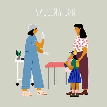 Children vaccination and immunization concept. Mom with kid gonna make a vaccine injection.  Doctor pediatrician  with syringe ready to vaccinating a child. Flat colorful vector illustration.  イラスト・ベクター素材