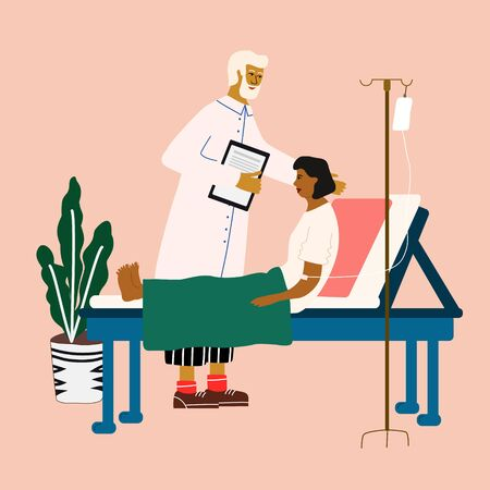 Doctor and patient medical concept. Doctor visiting, consulting and examining a woman. Trendy colorful vector illustration in flat cartoon style.