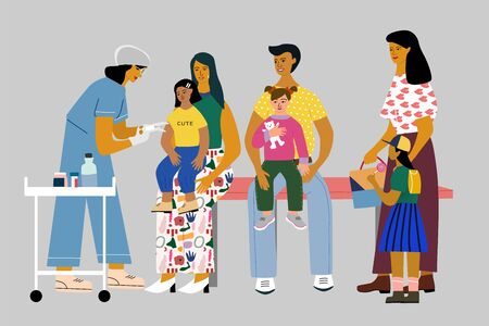 Children vaccination and immunization concept. Doctor pediatrician with syringe and gloves vaccinate a kid girl. Children with parents wait in a queue. Flat colorful vector illustration.