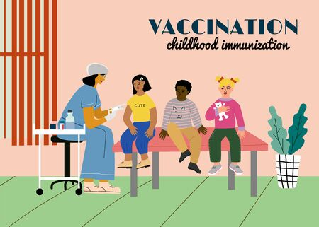 Children vaccination and immunization concept poster. Doctor pediatrician with syringe and gloves vaccinate a kid girl. Children wait in a queue. Flat colorful vector illustration. Ilustração