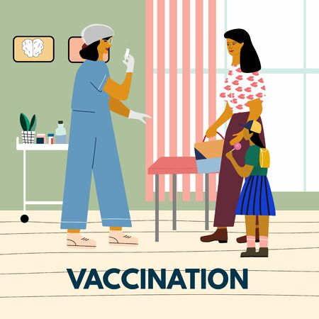 Children vaccination and immunization concept. Mother with child gonna make a vaccine injection.  Pediatrician with syringe ready to vaccinate a child. Flat colorful vector illustration.