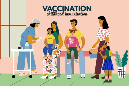 Children vaccination and immunization concept poster. Doctor pediatrician with syringe vaccinate a kid girl. Children with parents wait in a queue in medical clinic. Flat colorful vector illustration.  イラスト・ベクター素材