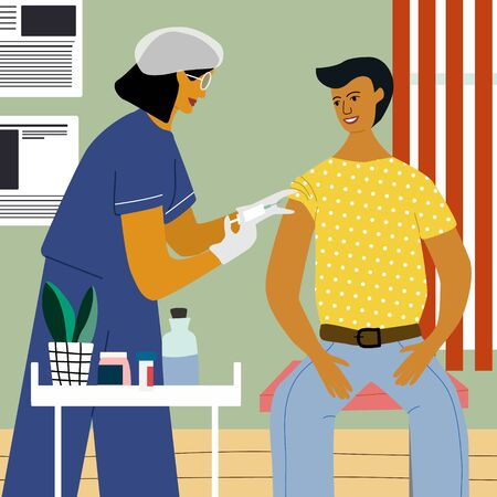 Vaccination and immunization concept. Man make a flu vaccine injection.  Doctor with syringe and gloves vaccinating a man at the medical laboratory. Flat trendy vector illustration.  イラスト・ベクター素材