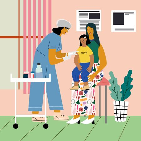 Children vaccination and immunization concept.  Doctor pediatrician  with syringe and gloves vaccinating a child girl who sitting on her mothers knees. Flat colorful vector illustration.