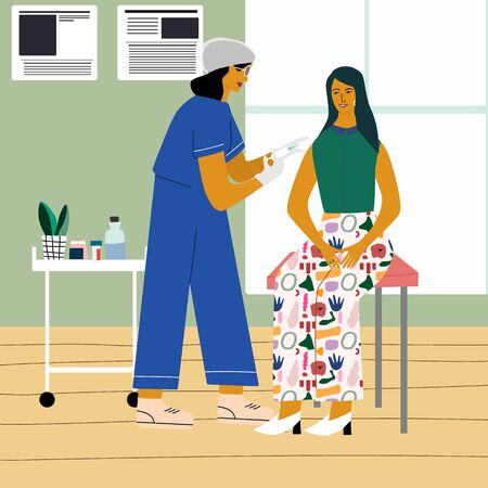 Vaccination and immunization concept. Woman make a flu vaccine injection.  Doctor   with syringe and gloves vaccinating a woman at the medical laboratory. Flat trendy vector illustration  イラスト・ベクター素材