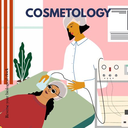 Cosmetology, dermatology concept poster. Dermatologist making photo rejuvenation procedure to woman in beauty clinic. Anti wrinkle and laser treatment, epilation. Flat cartoon vector illustration Illustration