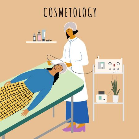 Cosmetology and dermatology concept. Dermatologist making radio frequency facial for woman in beauty clinic. Anti wrinkle, skin care, anti age, rejuvenation procedure. Flat cartoon vector illustration