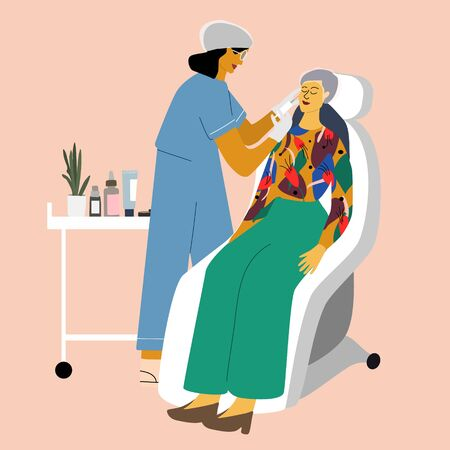 Cosmetology, dermatology concept. Dermatologist making beauty injection into woman face in clinic. Anti wrinkle, skin care, anti age, rejuvenation procedure. Flat cartoon vector illustration