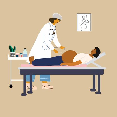 Healthy pregnancy concept. Doctor examining a pregnant woman. Obstetrican gynecologist measuring pelvis size. Flat colorful vector illustration.