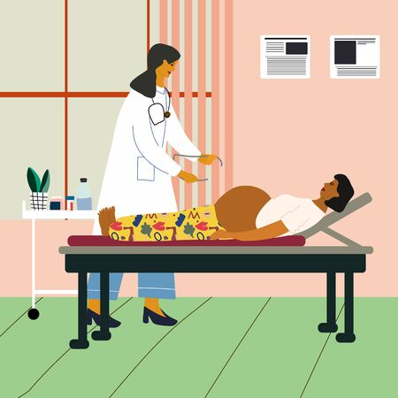 Healthy pregnancy concept. Doctor examining a pregnant woman at the clinic. Obstetrican gynecologist measuring pelvis size. Flat colorful vector illustration.  イラスト・ベクター素材