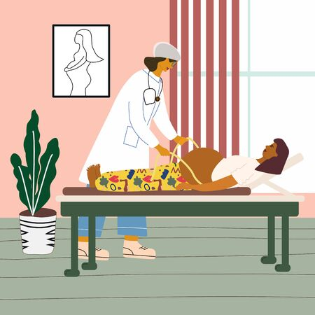 Healthy pregnancy concept. Doctor examining a pregnant woman at the clinic. Obstetrican gynecologist measuring the tummy with measuring tape of her pregnant patient. Flat colorful vector illustration