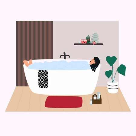 Woman relaxing in bathtub  with bubbles. Young girl taking a bath in  bathroom. Cute interior in trendy Scandinavian style. Everyday routine. Flat vector in cute cartoon style
