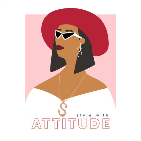 Fashion woman  portrait  with trendy hairstyle and red hat.  Stylish jewerly, earrings and glasses. Stile with attitude text. Vector illustration for print, t-shirt design, poster, banner, tote bag. Vettoriali
