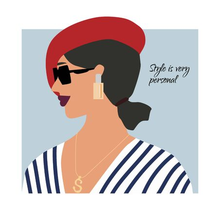 Fashion Paris woman profile portrait in sea style, red beret and jewelry.  Stylish earrings and glasses. Style is personal text. Vector illustration for print, t-shirt design, poster, banner, tote bag  イラスト・ベクター素材