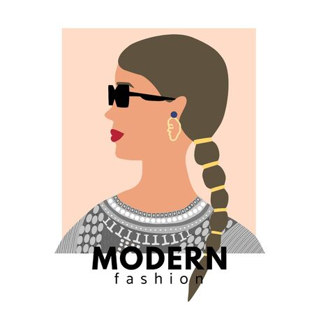 Fashion woman profile portrait  with trendy pigtail.  Stylish dress, tape and glasses. Modern fashion text. Vector illustration for print, t-shirt design, poster, banner, tote bag.  イラスト・ベクター素材