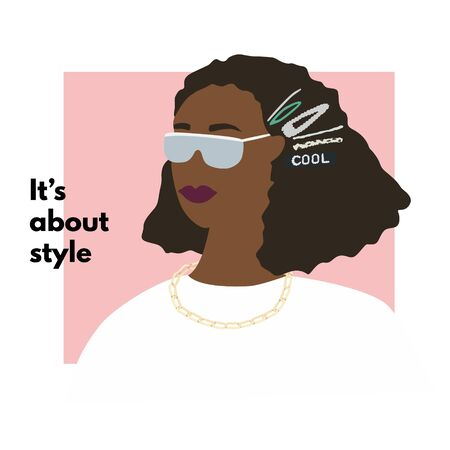 Fashion African American woman profile portrait.  Stylish hair clips and glasses. Its about style text. Vector illustration for print, t-shirt design, poster, banner, tote bag