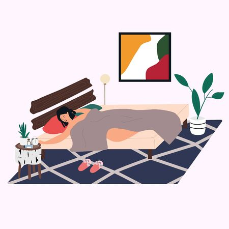 Woman sleeping in bedroom in morning. Young girl lying in bed. Bedroom interior: rag, picture, table, alarm clock, plant  in trendy Scandinavian style. Everyday routine. Flat vector in  cartoon style 向量圖像