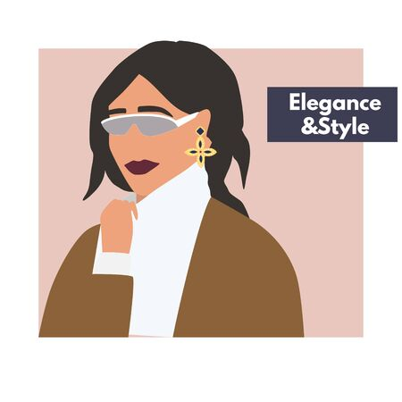 Fashion woman portrait  in warm sweater with trendy hairstyle .  Stylish earrings and glasses. Elegance and style text. Vector illustration for print, t-shirt design, poster, banner, tote bag.  イラスト・ベクター素材