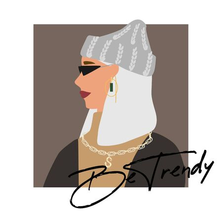 Fashion woman profile portrait  in warm sweater, trendy beanie hat and jewerly .  Stylish earrings and glasses. Be trendy text. Vector illustration for print, t-shirt design, poster, banner, tote bag.