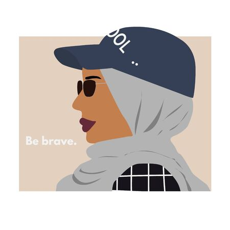 Fashion east woman profile portrait with cool cap. Stylish glasses. Be brave text. Vector illustration for print, t-shirt design, poster, banner, tote bag