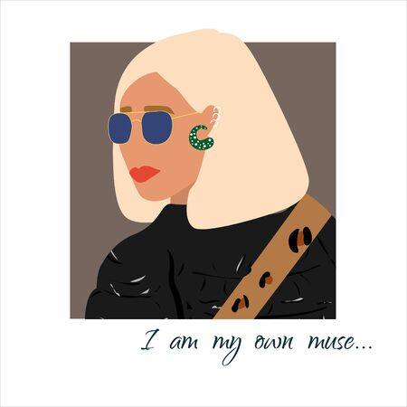 Fashion woman  portrait  in black jacket with trendy hairstyle .  Stylish earrings and glasses. I am my own muse text. Vector illustration for print, t-shirt design, poster, banner, tote bag.  イラスト・ベクター素材