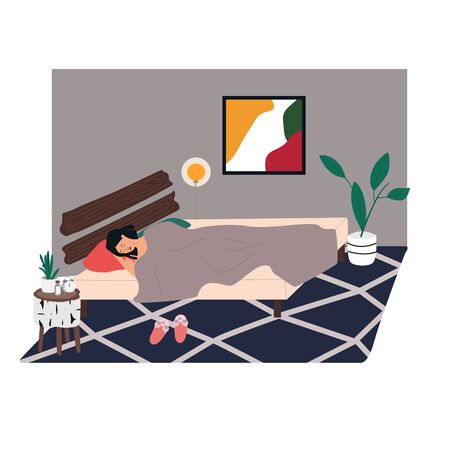 Woman sleeping in bedroom at night. Young girl relaxing  in bed. Bedroom cozy interior: rag, picture, table, alarm clock, plant in trendy Scandinavian style. Everyday routine. Flat vector Vectores